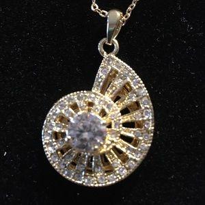 White Diamond Simulant Shell Necklace